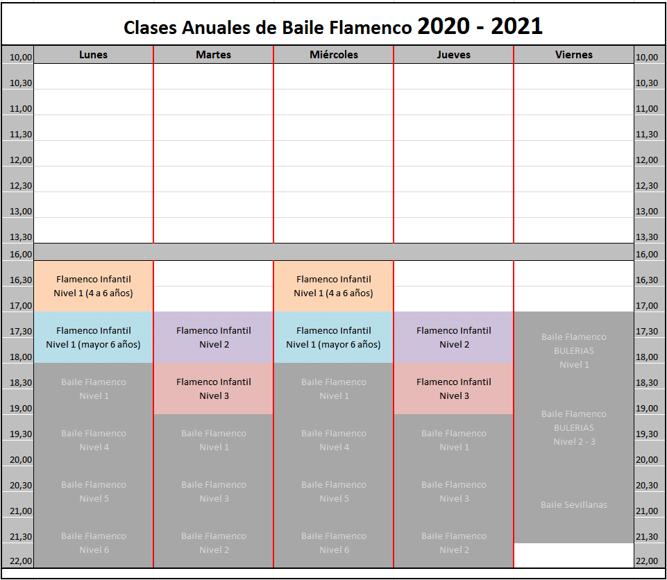 Horario Flamenco Infantil 2020-2021