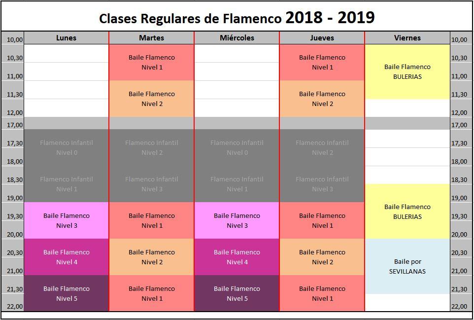 Horario flamenco 2018 - 2019