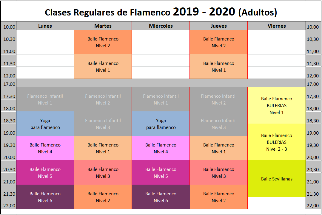 Clases Anuales de Flamenco 2019 - 2020 ADULTOS