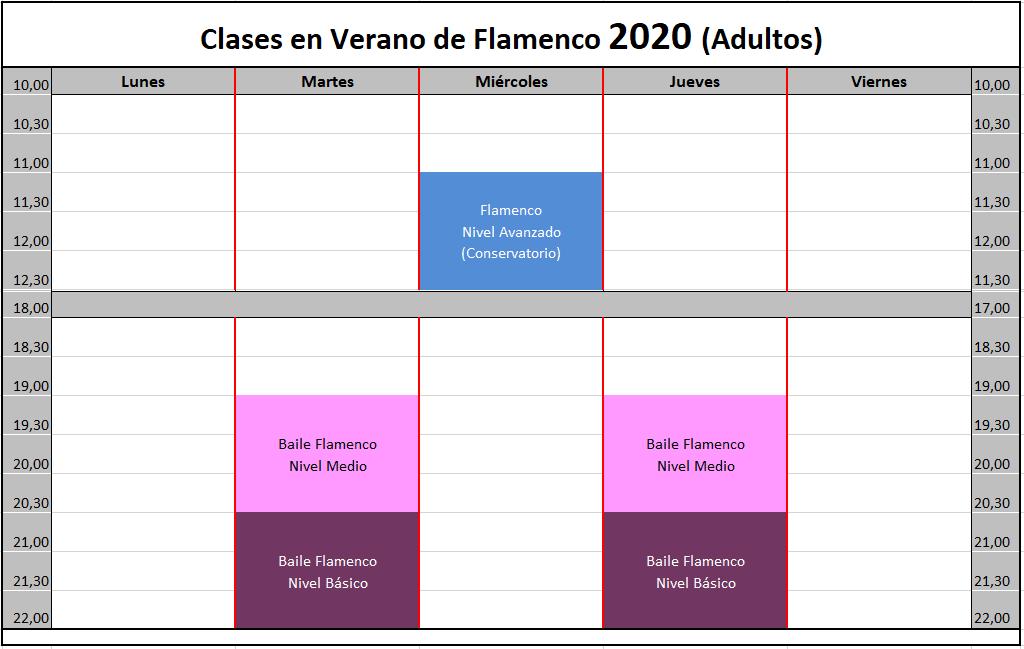 Horario verano 2020