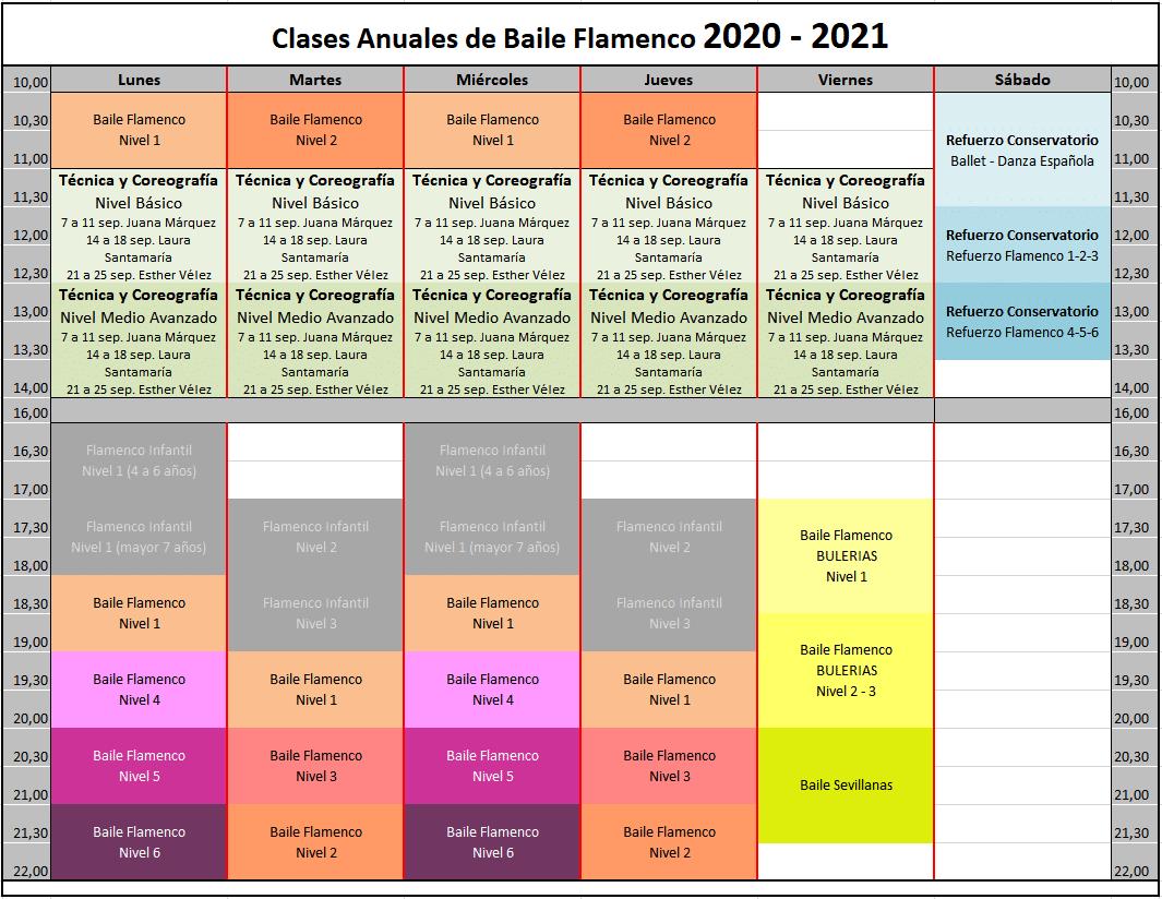 Horario Flamenco anual 2020 BIENAL