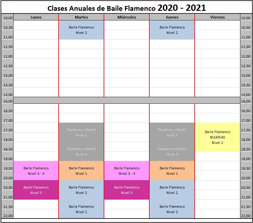 Curso de flamenco Anual 2020 - 2021