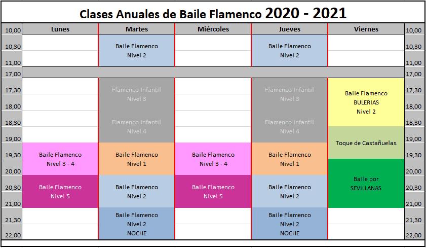 Horario Flamenco anual 2020-2021