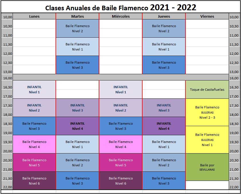 Horario Flamenco anual 2021-2022